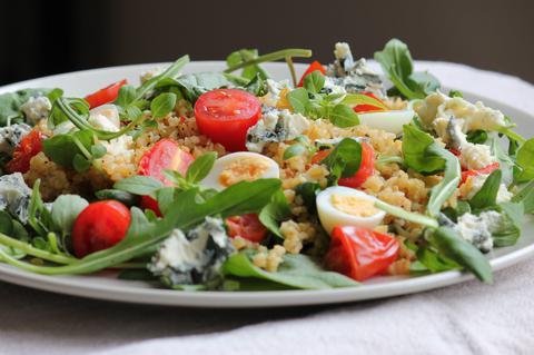 'Bulgur wheat, quail eggs and blue cheesesalad' header image